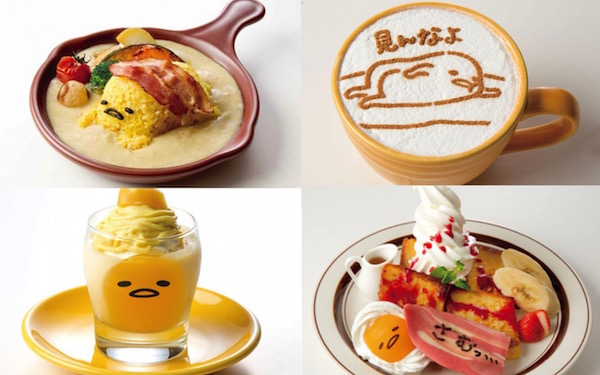 Sanrio's lazy egg character appears on menu items at new Gudetama Cafe in Osaka
