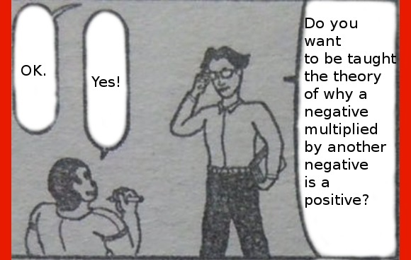 Japanese comic explains why a negative multiplied with another negative is a positive