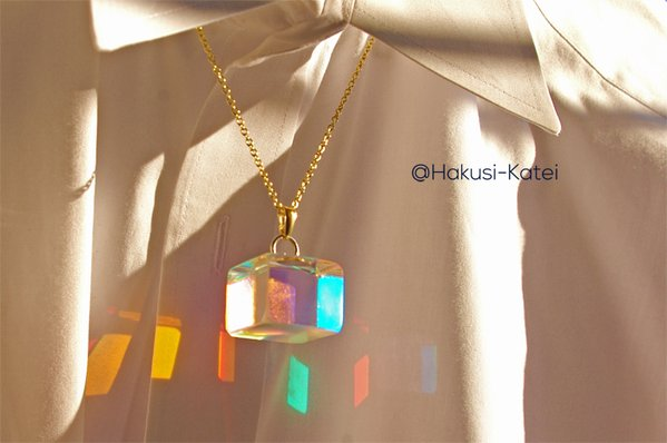 Clear cube necklace lets you carry all the colors of the rainbow with you to match any outfit