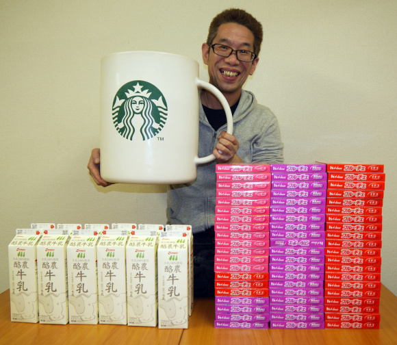 What do you do with a very large novelty Starbucks mug? Make a very large dessert!
