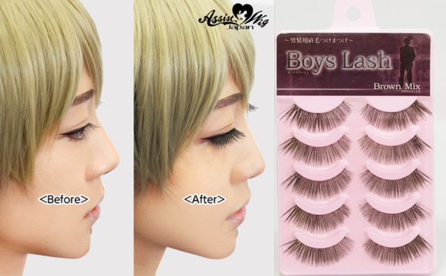 "Boys Lash — ""Straight false eyelashes for dressing up as a man"""