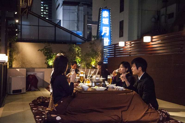 How to make open-air dining in winter awesome: Take the kotatsu outside!