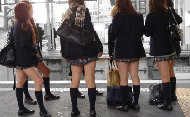 Japanese schoolgirls' hemlines are still up, but socklines are way down