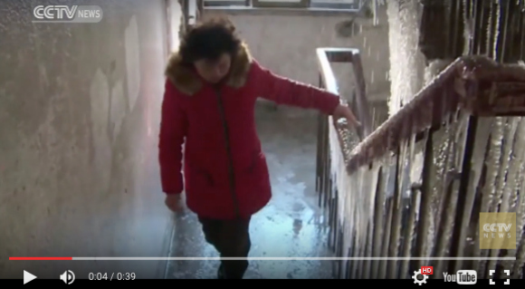 China's extreme cold weather leaves buildings covered in ice both inside and out