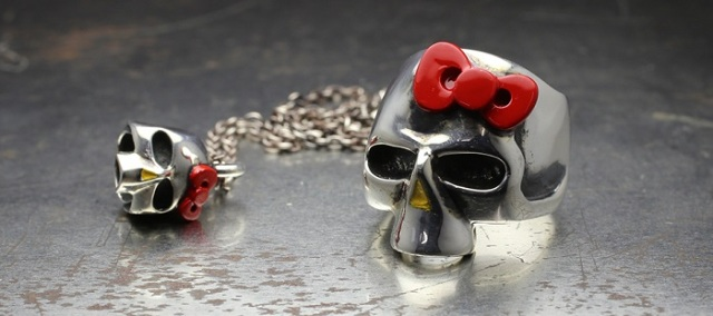 Hello Kitty skull ring and skull necklace are totally cute and metal as f#@%