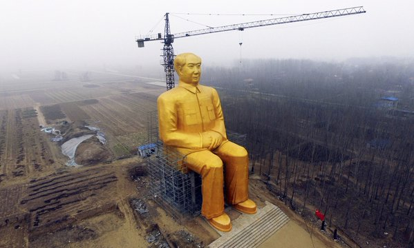 Giant golden statue of Chairman Mao Zedong erected in the middle of nowhere in China