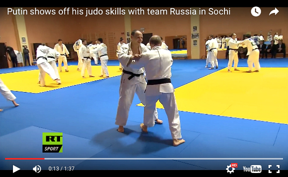 Putin puts the moves on Russian judo team during practice in Sochi