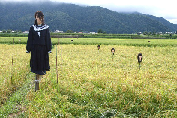 Overachieving Japanese farmers make scarecrows that scare us too