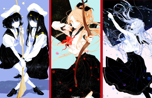 Artist reimagines the Zodiac signs as anime-style schoolgirls in gorgeous illustration series