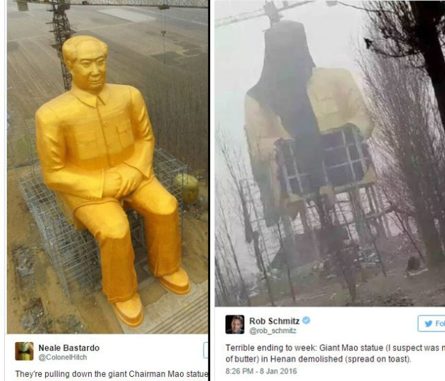 120-foot golden Chairman Mao golem attacked by trolls, taken down