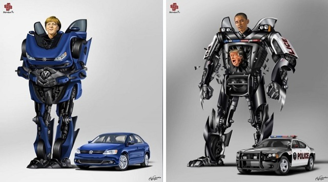 Artist re-imagines political bigwigs as fearsome mechanized transforming robots