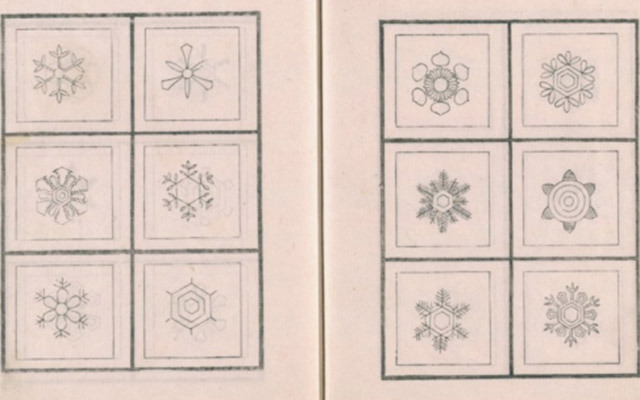 Beautiful, intricate drawings of snowflakes from Edo-era Japan
