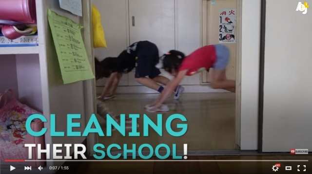 Short video looks at why Japanese students serve their own school lunches, clean their classrooms