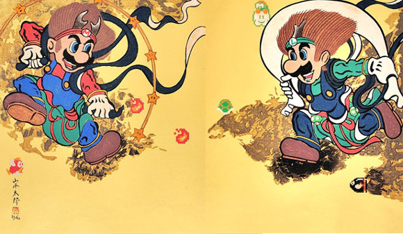 Nintendo's Super Mario Bros. appear as the gods of wind & thunder in new ukiyo-e woodblock print