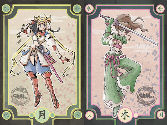 Sailor Moon girls appear as samurai and ninja in five-piece character art collection