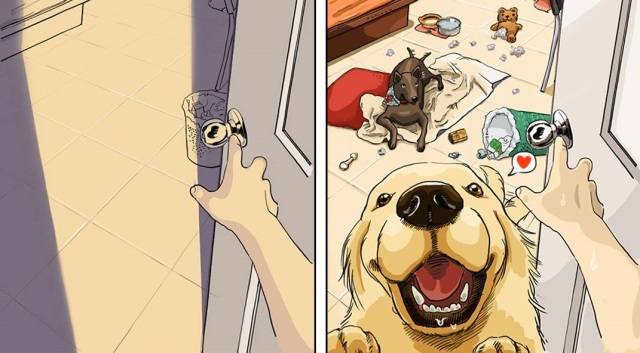 Cute before-and-after illustrations perfectly capture how life changes with your first pet