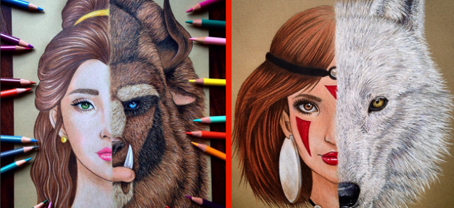Artist's two-in-one renditions of Disney and Ghibli characters are half-bold and half-beautiful