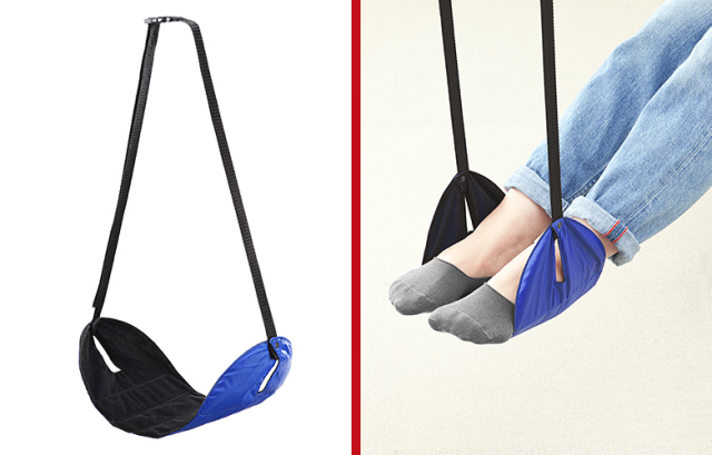 Clever travel foot hammock is just the thing for the long flight to Japan