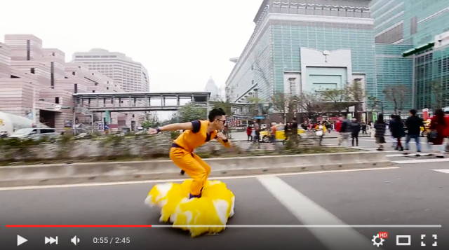 Awesome Goku cosplayer tours city while riding Dragon Ball's Flying Nimbus
