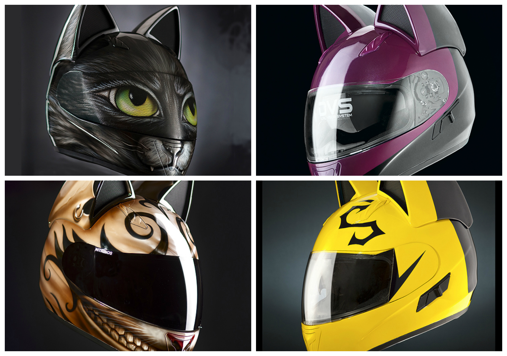 Neko Motorcycle Helmets Featuring Cute Cat Designs Are Purr Fect For Cosplay And For The Road Soranews24 Japan News Good helmet design is a hallmark of a good sentai and changeman nails it. neko motorcycle helmets featuring cute