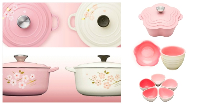 Bring spring into your home with pink flower-themed Le Creuset pots and tableware!