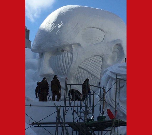 Attack on Titan's gigantic monsters set to terrorize this year's Sapporo Snow Festival 【Photos】