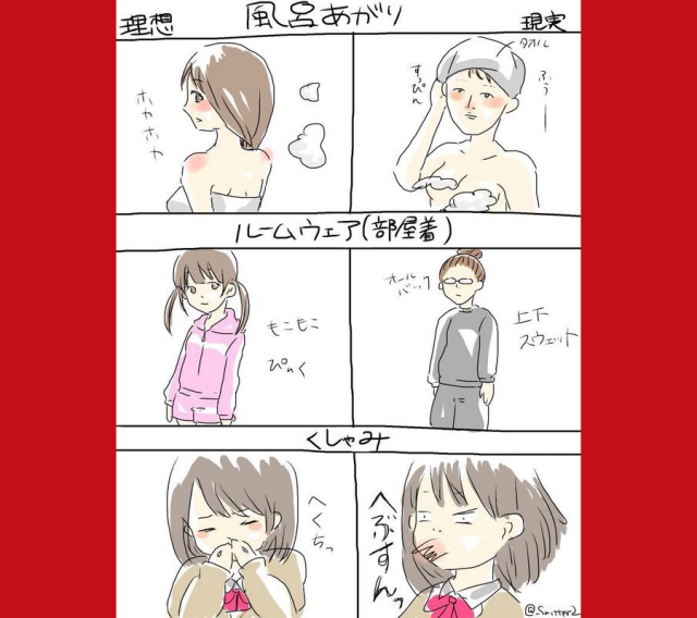 Japanese Twitter artist illustrates six differences between imagined ideals and reality for women