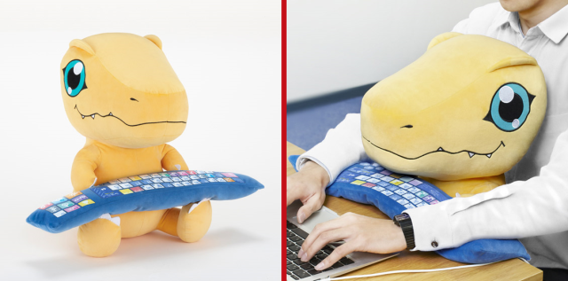 Digimon's Agumon is here to be your friend and support your wrists as a huggable PC cushion