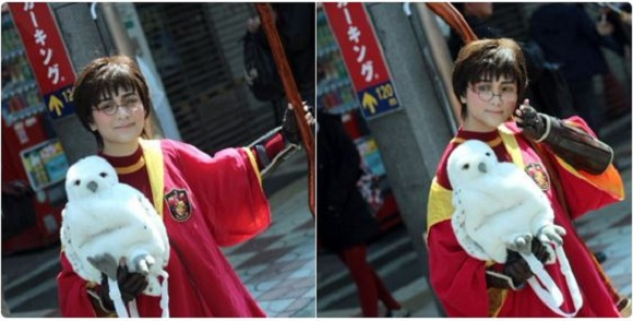 Young Japanese cosplayer whips up some costume magic to transform herself into Harry Potter