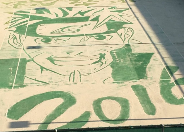 Japanese school bids farewell to graduating students with amazing Naruto tennis court sand art