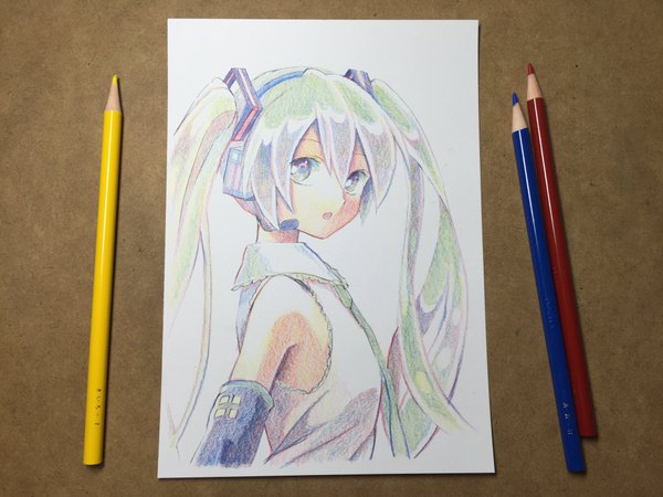 Japanese artist impresses with gorgeous picture of Hatsune Miku drawn using only three colors