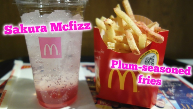 Sakura McFizz and fries with plum seasoning on sale now at McDonald's