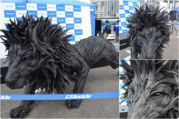 The ultimate eco-friendly art: Korean artist makes animal sculptures out of discarded tires【Pics】
