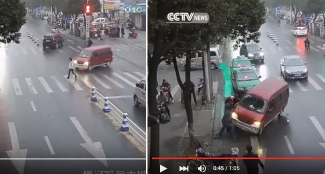 Traffic camera in China captures brutality of woman's accident, humanity of her rescuers