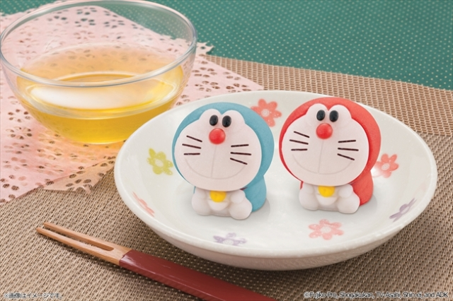 Traditional Japanese tea ceremony sweets now appear in the shape of Doraemon anime cats