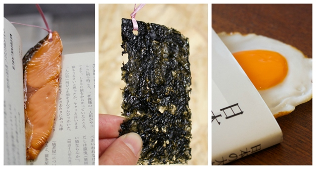 Japanese online retailer selling mouth-watering salmon, nori, eggs and bacon bookmarks【Pics】
