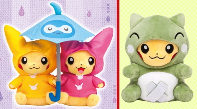 April showers bring May flowers, but June showers bring adorable paired Pikachu plushies!