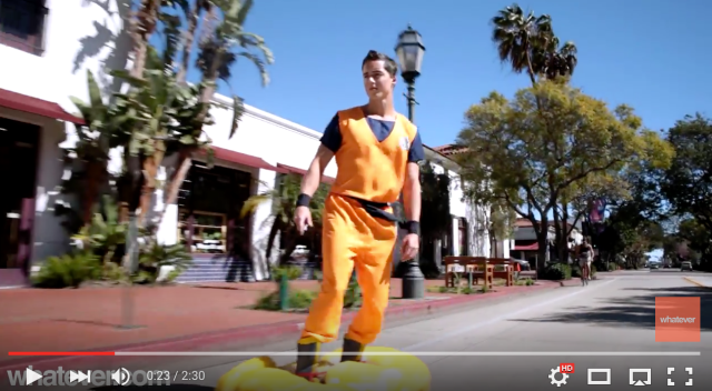 Goku cosplayer takes his Flying Nimbus to Los Angeles【Video】