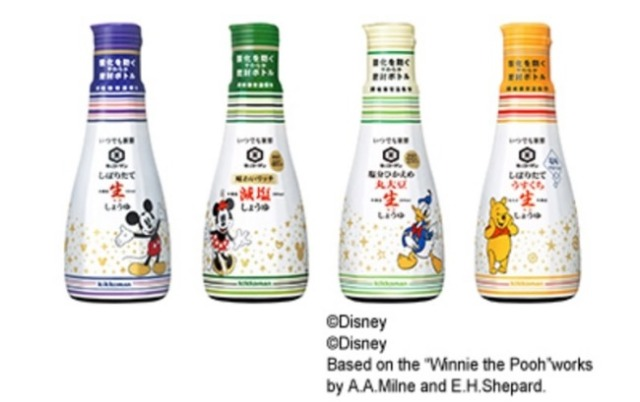 Disney soy sauce is now on sale in Japan—four different tastes, four cute designs