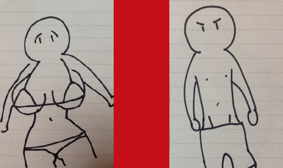 Twitter user shares difference in how male and female anime artists draw characters in swimsuits