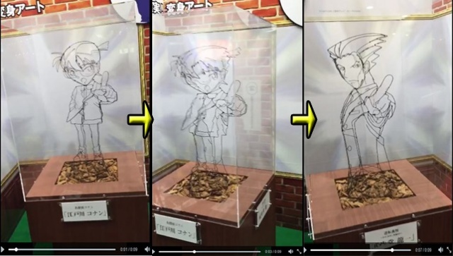 OBJECTION! This 3D wire art of Detective Conan and Phoenix Wright is amazing
