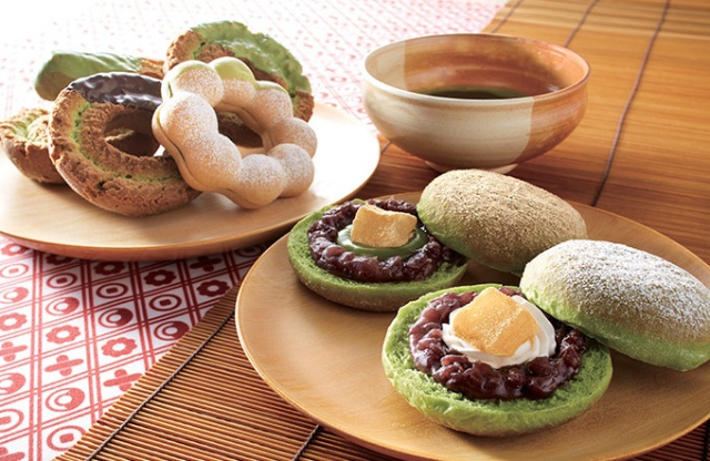 New Japanese sandwich doughnuts from Mister Donut feature matcha, soybean flour and red beans