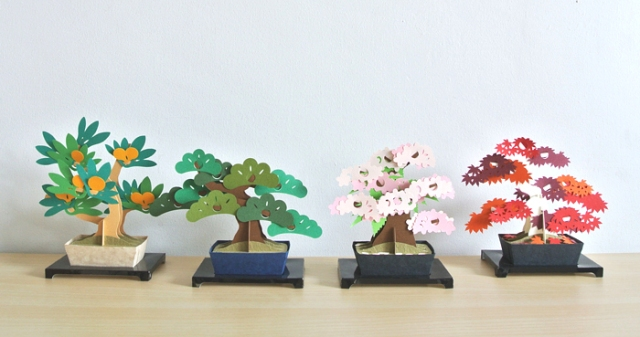 Japanese bonsai trees made from paper stay beautiful without water or pruning