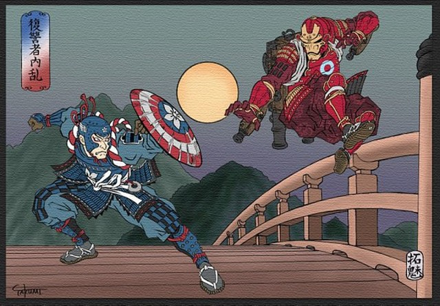 Captain America and Iron Man battle it out Japanese-warrior style