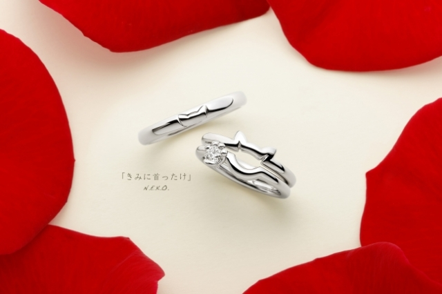 Cat wedding and engagement rings by Japanese design house feature gorgeous feline details