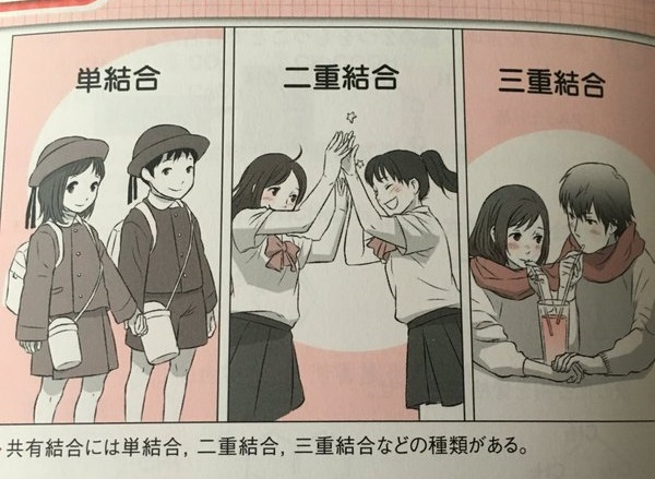 Japanese textbook tries to cleverly illustrate chemical bonds, but the internet has other ideas