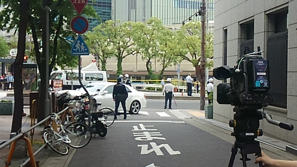Seven injured at Kobe station as car speeds through intersection, mounts sidewalk