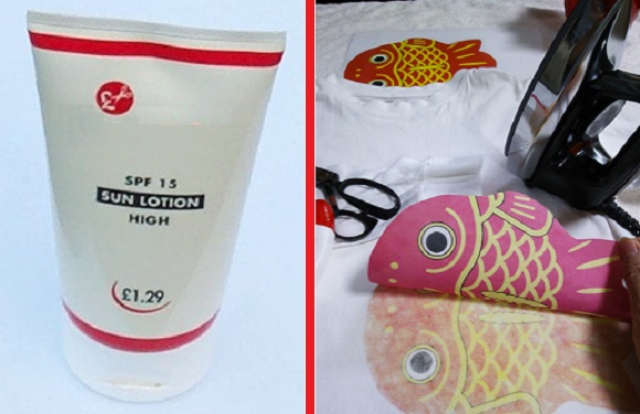 Create your own T-shirt iron-on design! Plus four other clever uses for expired SUNSCREEN