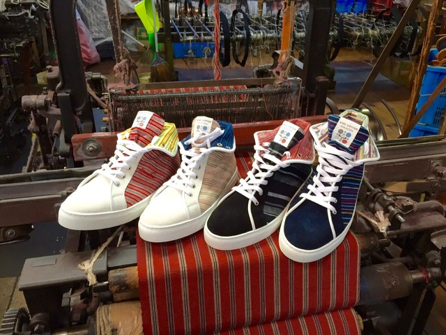 Fukushima recovery boosted via sneakers made from Aizu kimono textiles loved by samurai