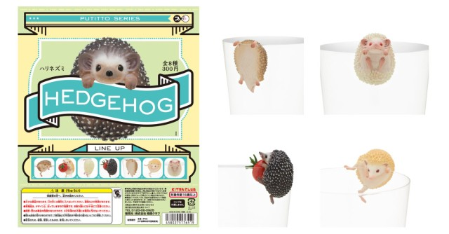 Cute hedgehog cup clingers from Japan join you for a drink in seven cute varieties